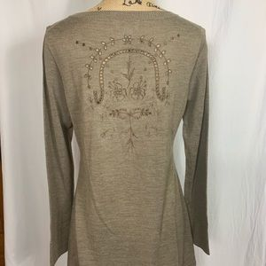 Soft Surroundings Tan Lace v Neck Wool Sweater Sm